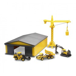 New Ray–Volvo Die Cast Playset with Crane 1Shed, 32105SS, Giallo