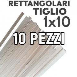 Listelli Rettangolari Tiglio mm. 1x10 Confezione 10 Pezzi