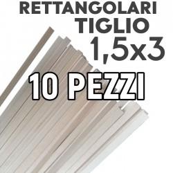 Listelli Rettangolari Tiglio mm. 1,5x3 Confezione 10 Pezzi