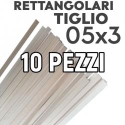 Listelli Rettangolari Tiglio mm. 0,5x3 Confezione 10 Pezzi