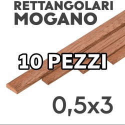 Listelli Rettangolari Mogano mm. 0,5x3 confezione 10 pezzi