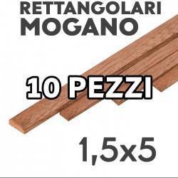 Listelli Rettangolari Mogano mm. 1,5x5 confezione 10 pezzi