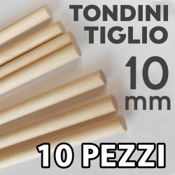Tondini Tiglio ø mm. 10 Listelli Confezione 10 Pezzi